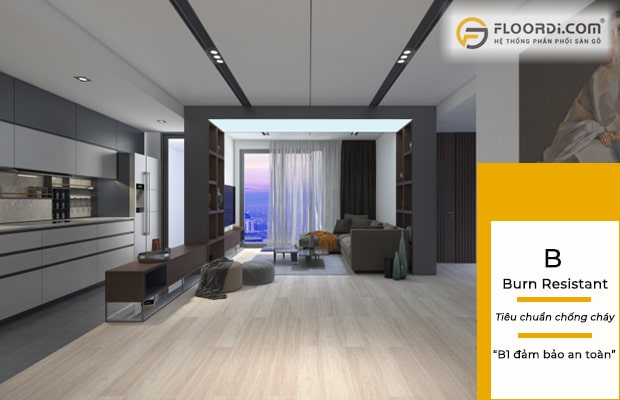Ván sàn đạt tiêu chuẩn B1 sẽ mang lại sự an toàn cho không gian ốp sàn ván gỗ