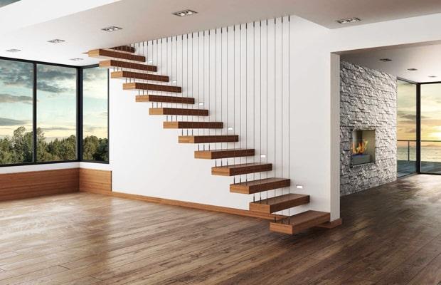 Kiểu cầu thang treo dây cáp vừa tạo sự an toàn vừa làm điển nhấn ấn tượng cho không gian