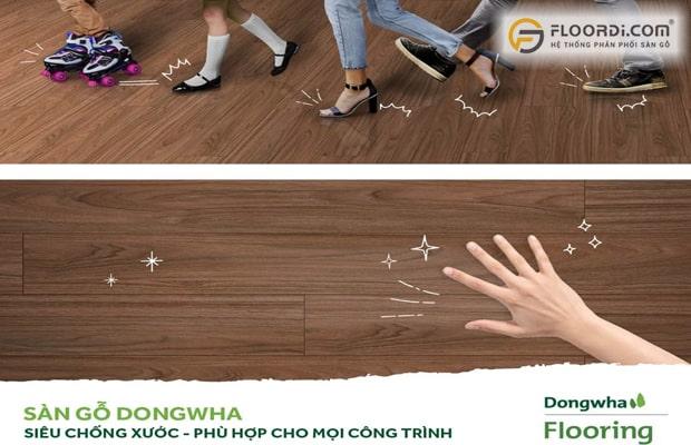 Dongwha là ván sàn siêu chống xước, phù hợp với mọi công trình